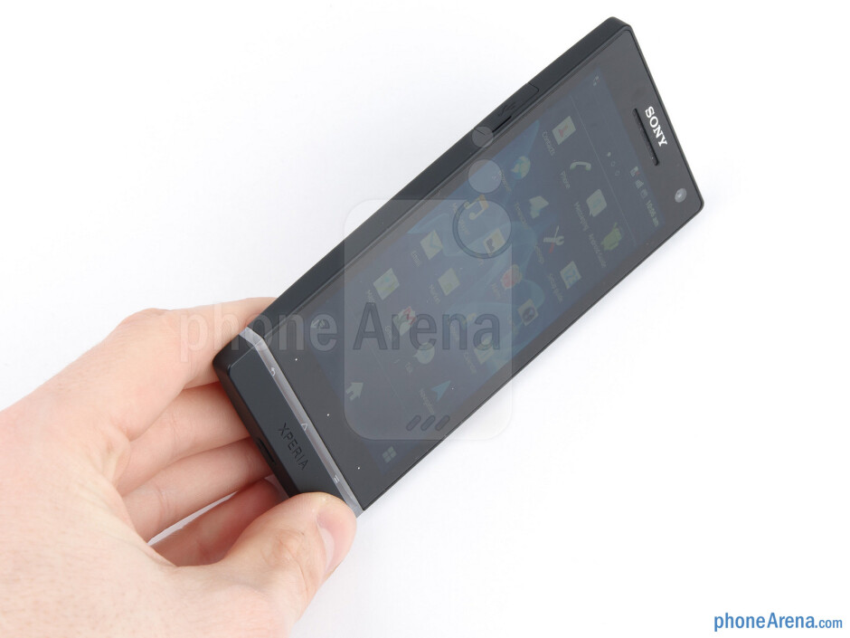 The phone looks like a boxy slab and provides a firm grip when picked - Sony Xperia S Review