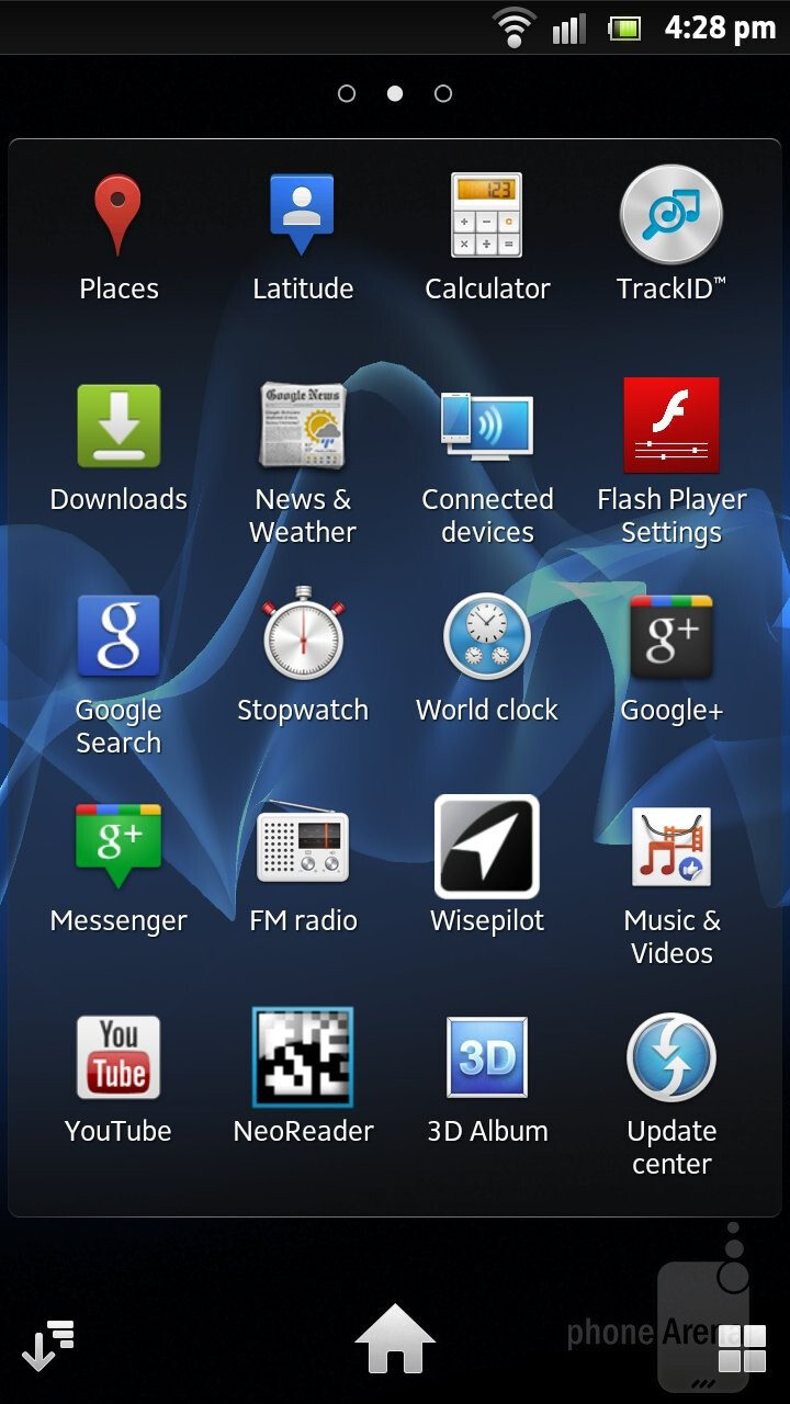 There is nothing new in the main menu - Sony Xperia S Review