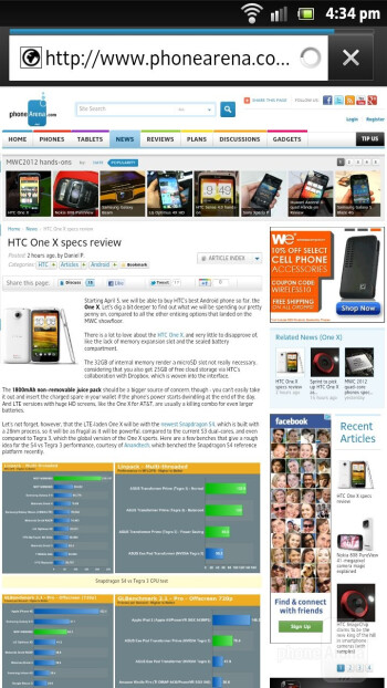 The web browser of the Sony Xperia S - Samsung Galaxy S III vs Sony Xperia S