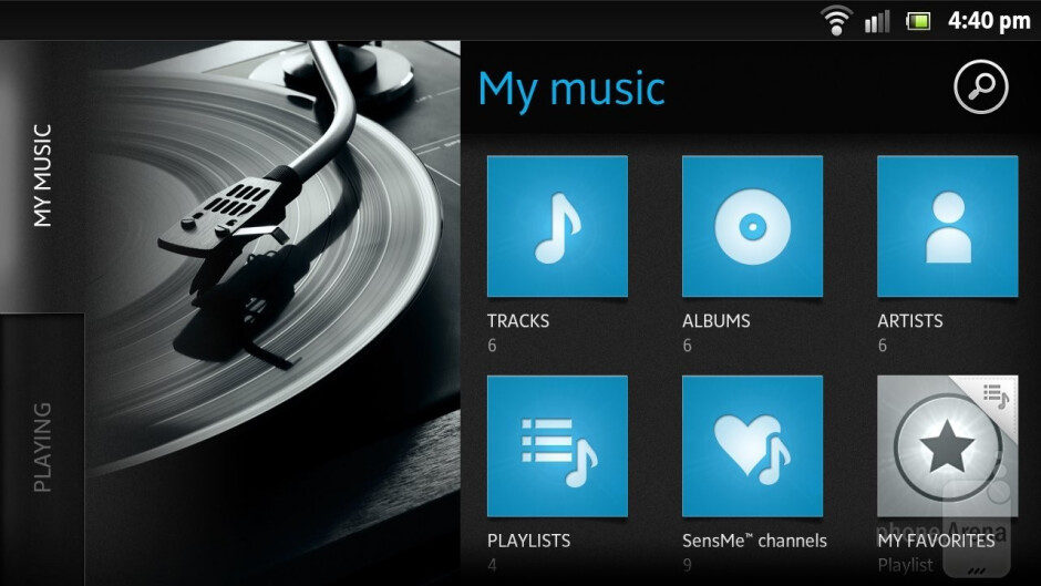 The music player has a moreminimalisticinterface - Sony Xperia S Review