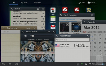 The Samsung TouchWiz UX can be found on top of the Android 3.2 Honeycomb OS - Samsung Galaxy Tab 7.7 LTE Review