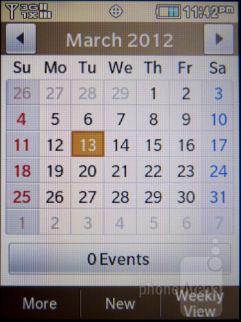 Calendar - Interface of the Samsung Brightside - Samsung Brightside Review