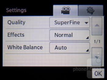 Camera interface - Samsung Brightside Review