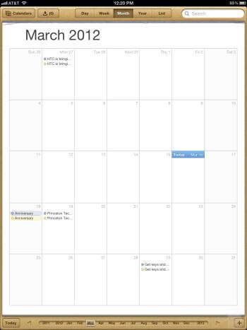 Calendar - The Apple iPad 3 - Google Nexus 7 vs Apple iPad 3