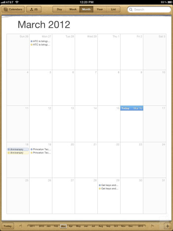 The calendar of the new iPad - Apple iPad 3 vs Asus Transformer Prime