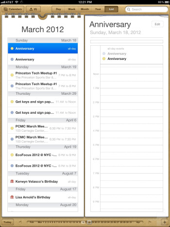 The calendar of the new iPad - The new iPad (3) Review