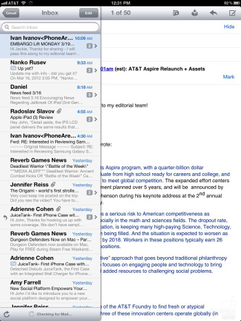 Email on the new iPad - Apple iPad 3 vs Motorola DROID XYBOARD 10.1