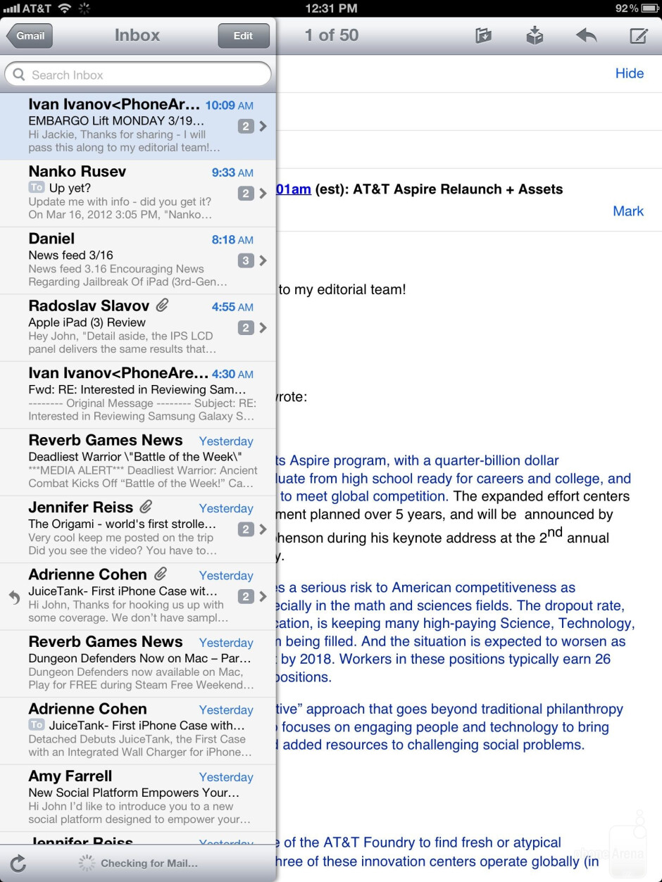 Email app of the Apple iPad 3 - Google Nexus 7 vs Apple iPad 3