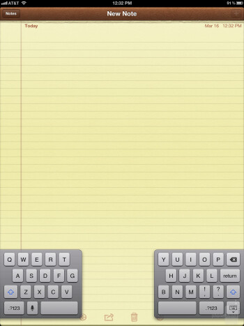 On-screen keyboard of the Apple iPad 3 - Google Nexus 7 vs Apple iPad 3