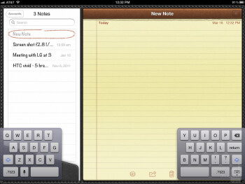 On-screen keyboard of the Apple iPad 3 - Google Nexus 7 vs Apple iPad 3