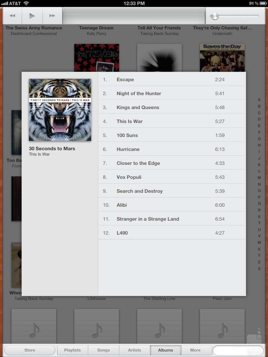The music player of the Apple iPad 3 - Samsung Galaxy Note 10.1 vs Apple iPad 3