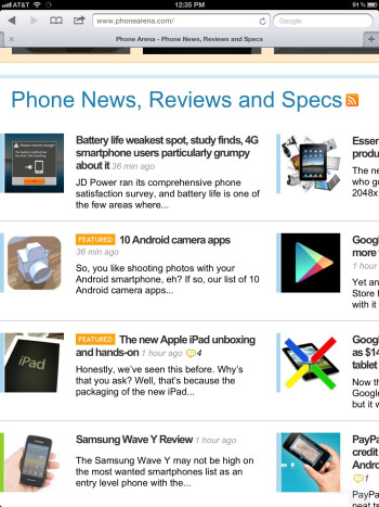Web browsing on the new iPad - The new iPad (3) Review