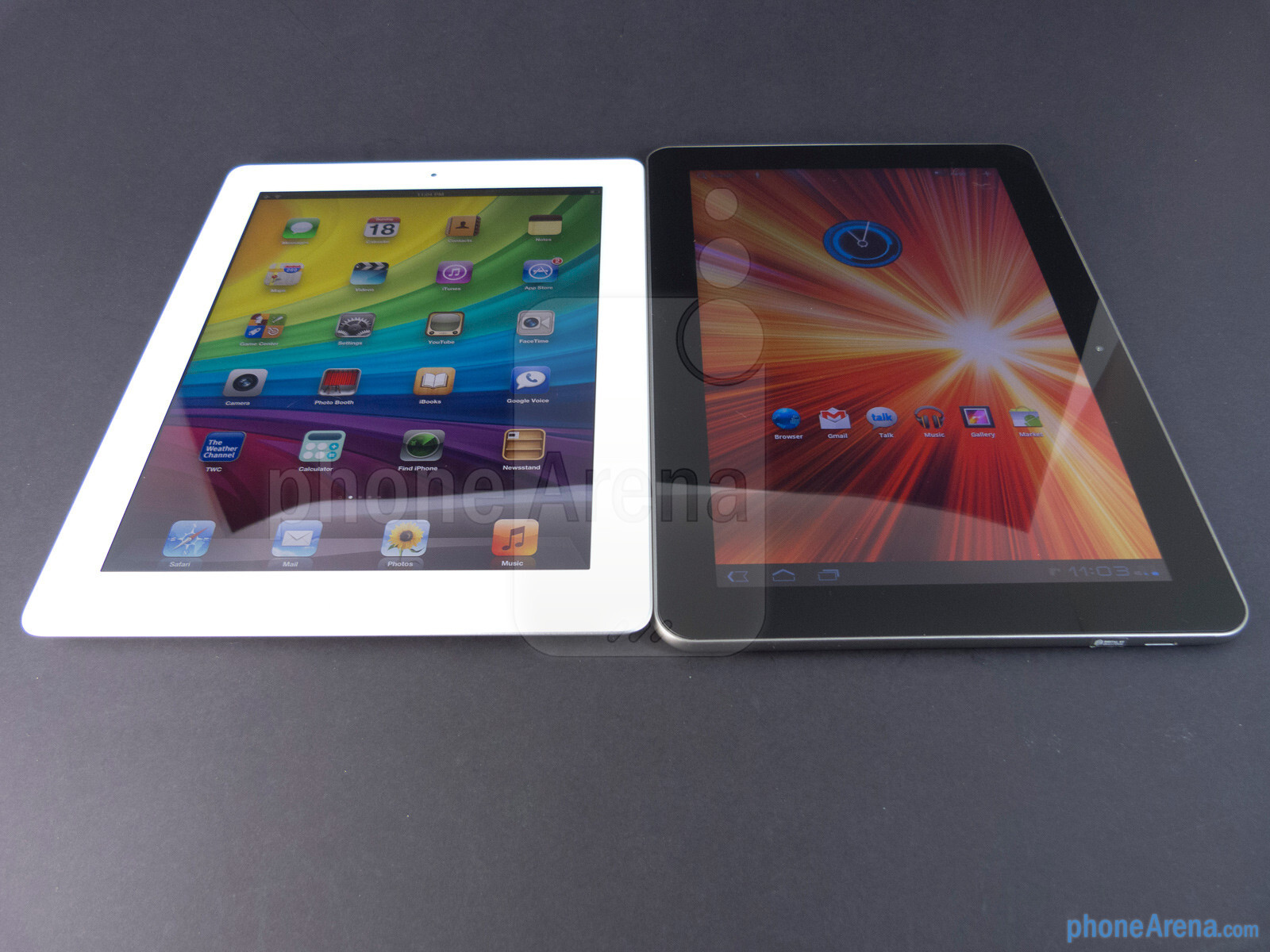 ... of the Apple iPad 3 (left) and the Samsung Galaxy Tab 10.1 (right
