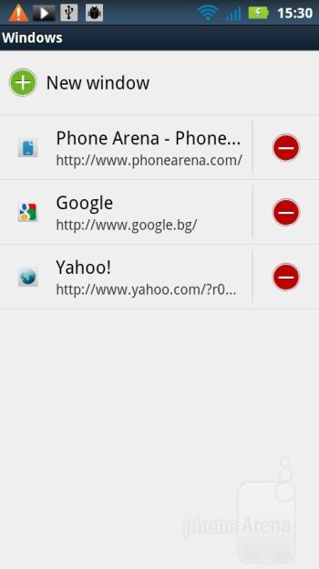 The stock web browser on the Motorola MOTOLUXE - Motorola MOTOLUXE Review