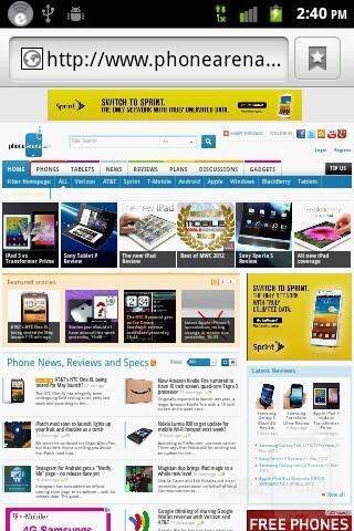 Web browsing - ZTE Score M Review