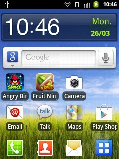 Home screen - The Samsung Galaxy Pocket has Gingerbread, skinned with TouchWiz - Samsung Galaxy Pocket Preview