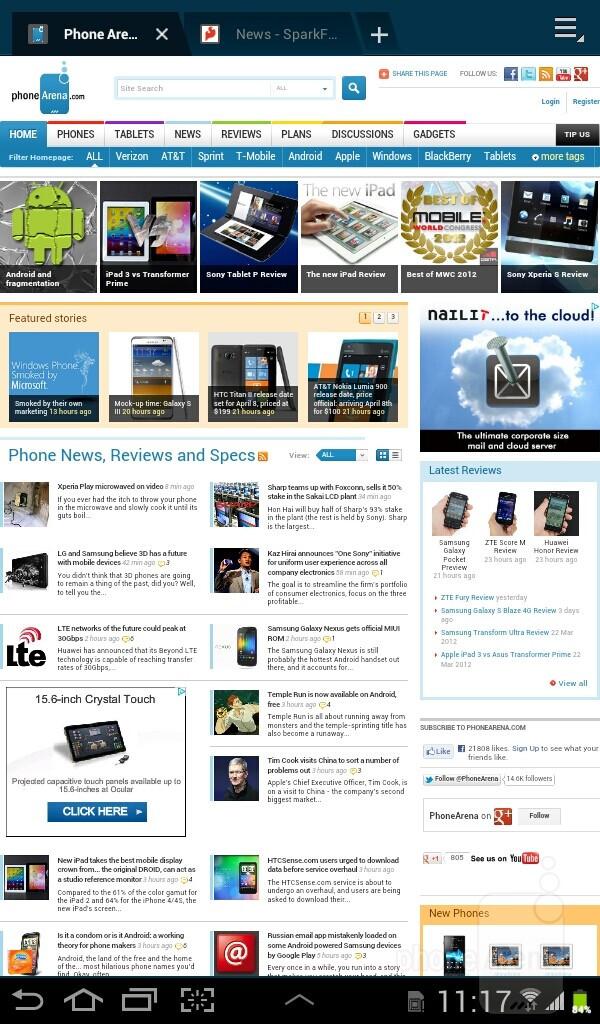 Internet browsing - Samsung Galaxy Tab 2 (7.0) Preview