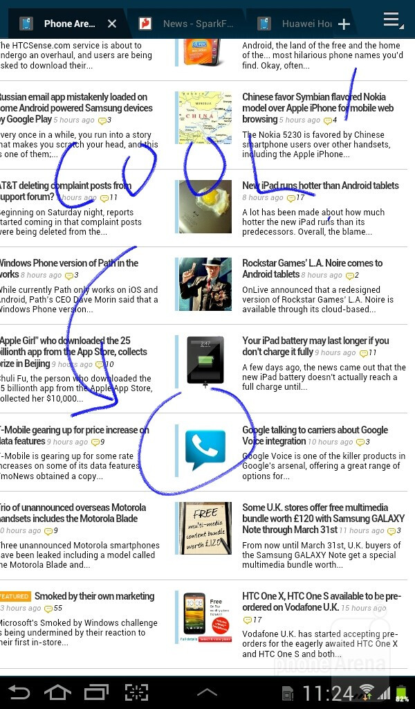 You have the ability to capture screenshots at the tap of a button and draw notes on the image - Samsung Galaxy Tab 2 (7.0) Preview