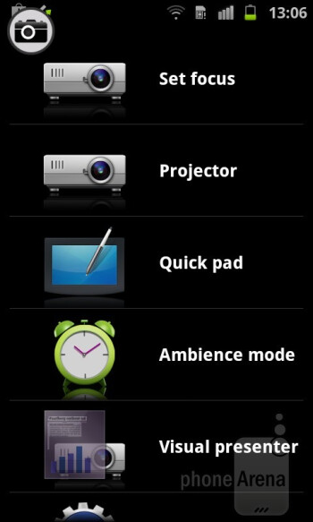 The Projector app allows for evoking the so-called Quick pad overlay - Samsung Galaxy Beam Preview