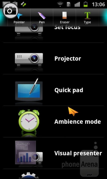 The paper plane pointer - The Projector app allows for evoking the so-called Quick pad overlay - Samsung Galaxy Beam Preview