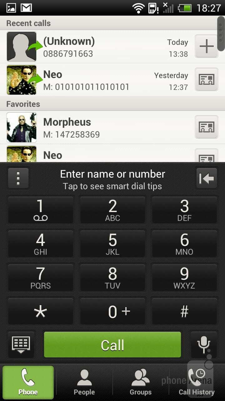 Dialer - The main menu - HTC One X Review