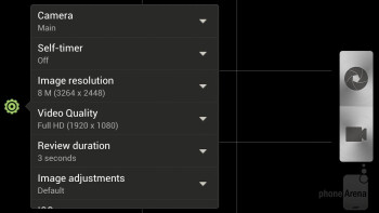 Camera interface of the HTC One X - HTC One X vs Samsung Galaxy Nexus