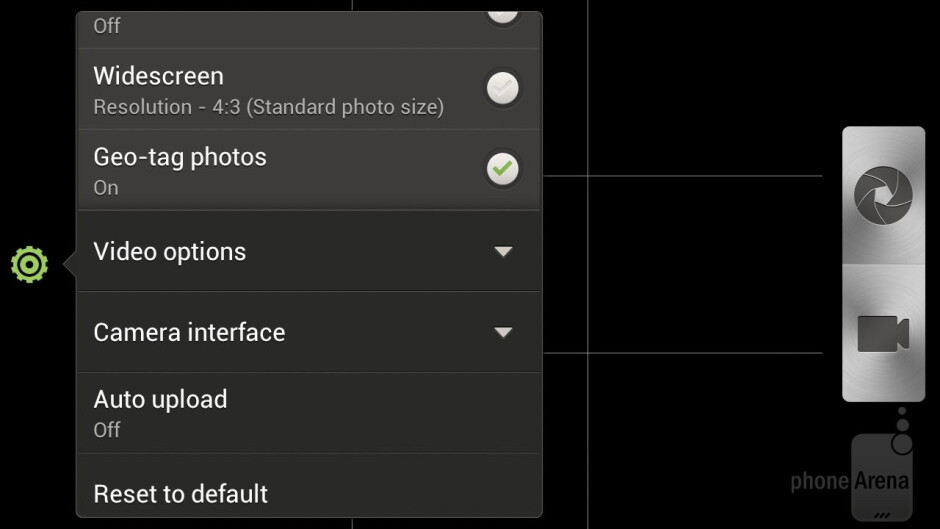 Camera interface of the HTC One X - Samsung Galaxy Note II vs HTC One X