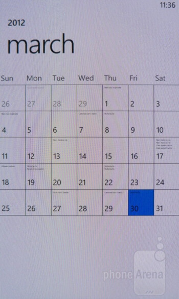 Calendar - Nokia Lumia 900 Review