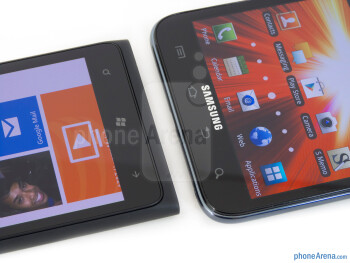 Buttons below the displays - The Nokia Lumia 900 (left) and the Samsung Galaxy Note LTE (right) - Nokia Lumia 900 vs Samsung Galaxy Note LTE