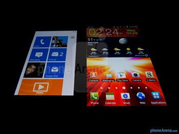 Viewing angles of the Nokia Lumia 900 (left) and the Samsung Galaxy Note LTE (right) - Nokia Lumia 900 vs Samsung Galaxy Note LTE