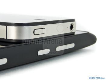 Power keys - The Nokia Lumia 900 (bottom) and the Apple iPhone 4S (top) - Nokia Lumia 900 vs Apple iPhone 4S