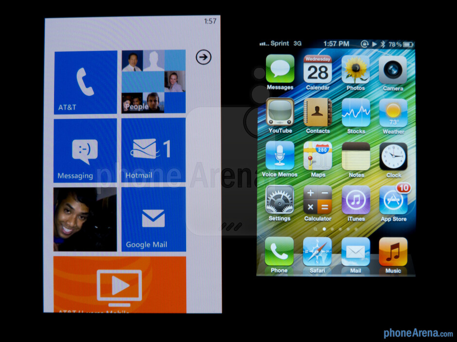Viewing angles of the Nokia Lumia 900 (left) and the Apple iPhone 4S (right) - Nokia Lumia 900 vs Apple iPhone 4S