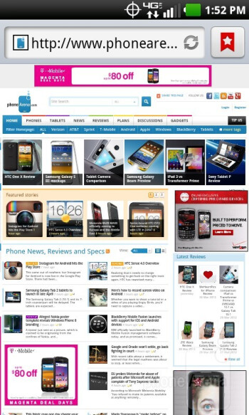 Web surfing with the LG Lucid - LG Lucid Review
