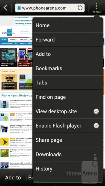 The browser of the HTC One S - HTC One S Review