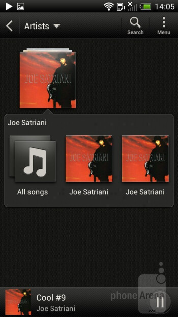 The music player of the HTC One S - HTC One S vs Apple iPhone 4S