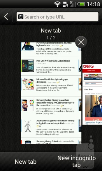 The built-in web browser of the HTC One V - HTC One V Review
