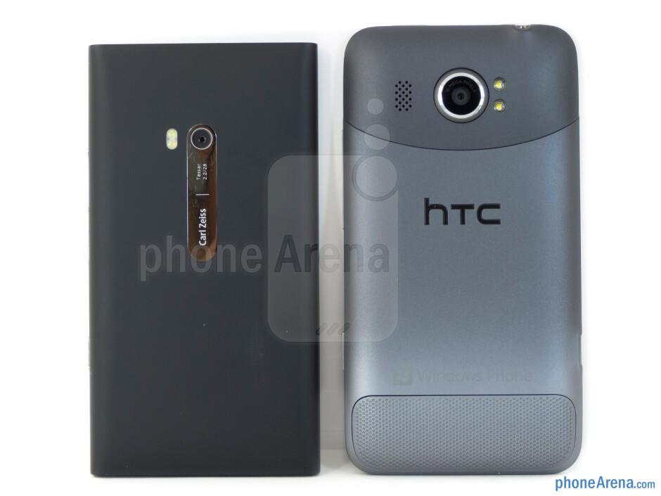 Backs - The Nokia Lumia 900 (left) and the HTC Titan II (right) - Nokia Lumia 900 vs HTC Titan II