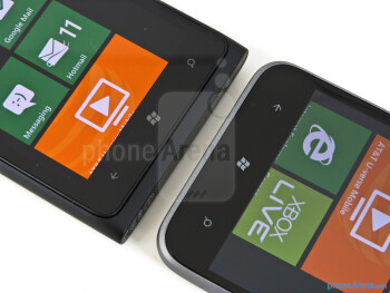 Capacitive Windows buttons - The Nokia Lumia 900 (left) and the HTC Titan II (righ