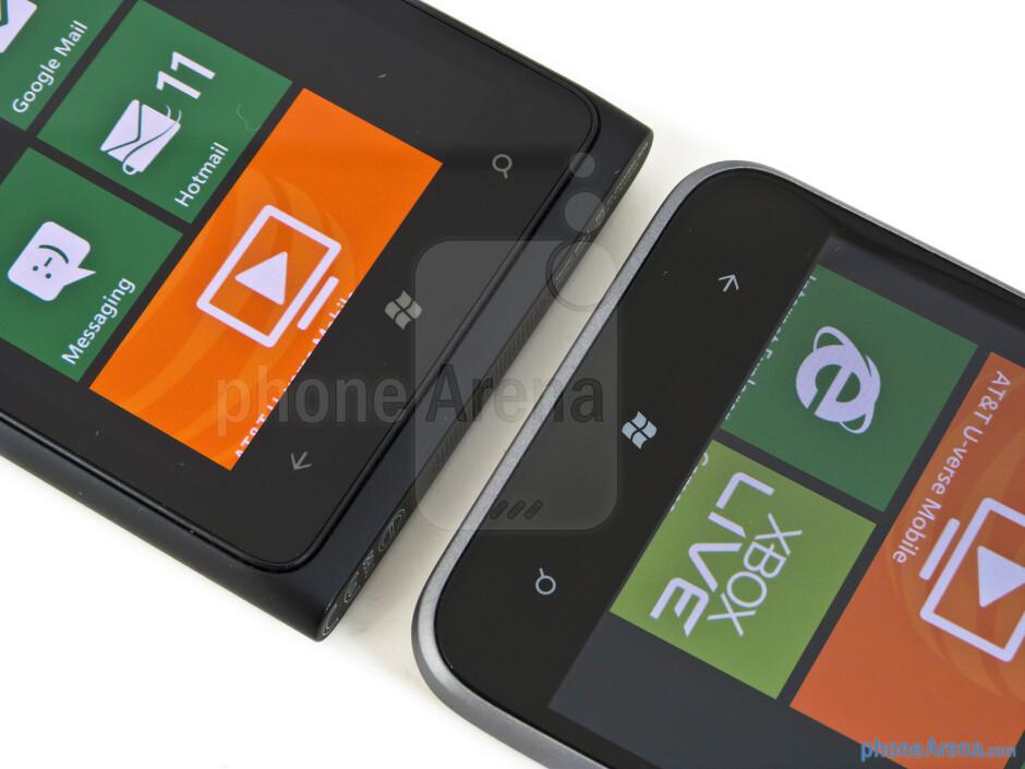 Capacitive Windows buttons - The Nokia Lumia 900 (left) and the HTC Titan II (right) - Nokia Lumia 900 vs HTC Titan II