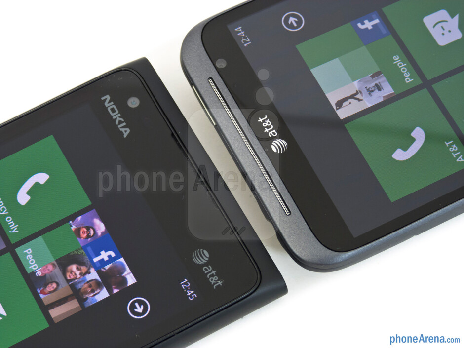 Front-facing cameras - The Nokia Lumia 900 (left) and the HTC Titan II (right) - Nokia Lumia 900 vs HTC Titan II