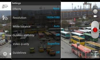 Camera interface of the Samsung Galaxy S II - HTC One S vs Samsung Galaxy S II