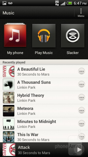 The music player sports a polished interface - HTC One S for T-Mobile Review