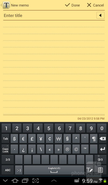 Virtual keyboard - Samsung Galaxy Tab 2 (7.0) Review