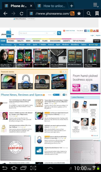 Web browsing with the Samsung Galaxy Tab 2 (7.0) - Samsung Galaxy Tab 2 (7.0) Review