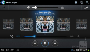 The music player interface - Samsung Galaxy Tab 2 (7.0) Review