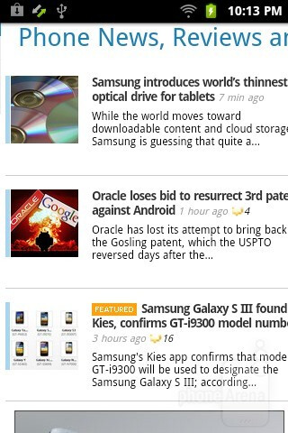 Web browsing with the Samsung Galaxy Player 3.6 - Samsung Galaxy Player 3.6 Review