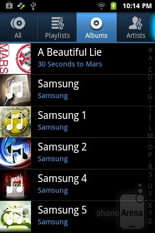 Music player interface - Samsung Galaxy Player 3.6 Review