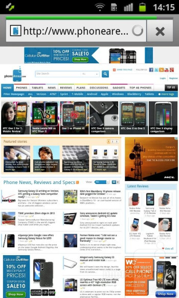 Web browsing - Samsung Galaxy Ace 2 Preview