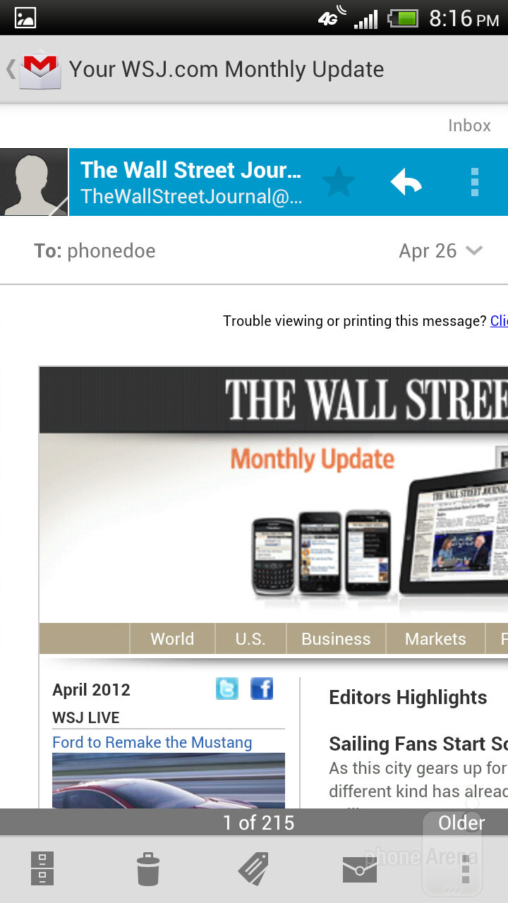 The e-mail clients - HTC One X for AT&T Review