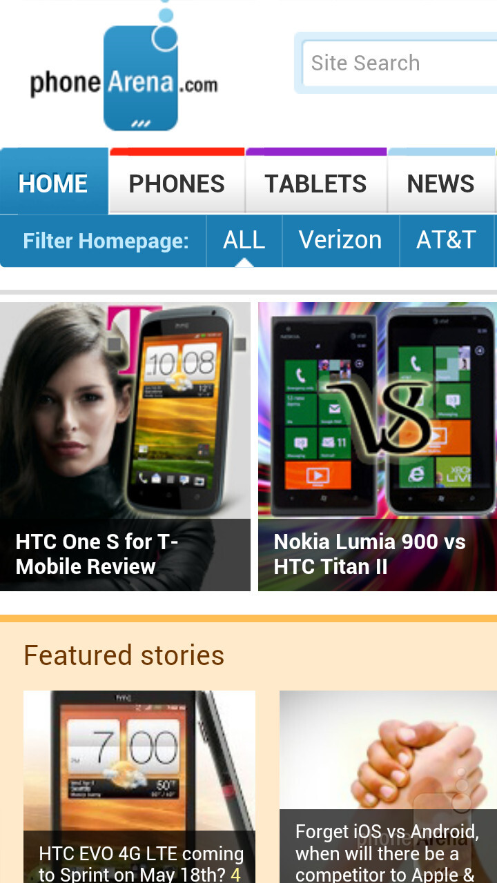 The web browser of the HTC One X - HTC One X for AT&T Review